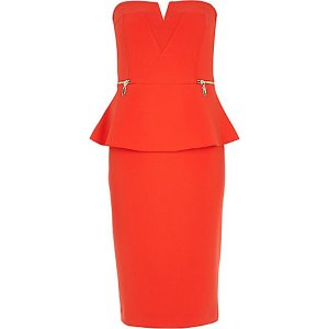 Limited edition @river island red bandeau peplum dress